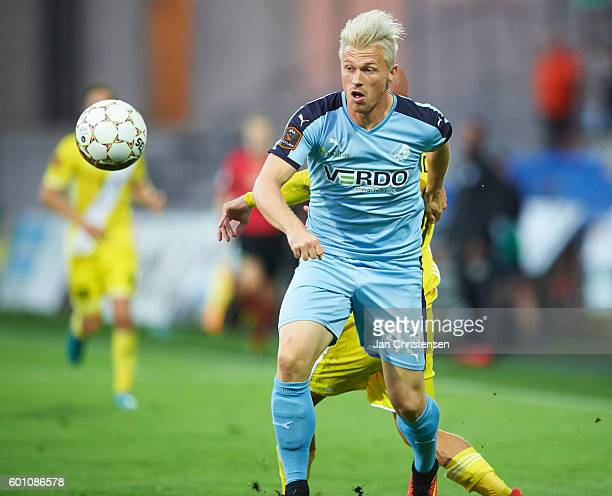 Marvin Pourie of Randers FC in action during the Danish Alka Superliga match between Randers FC and Lyngby BK at BioNutria Park Randers on September...