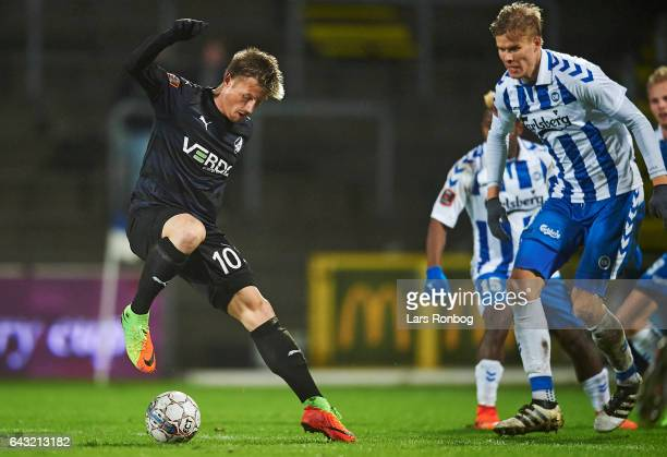 Marvin Pourie of Randers FC in action during the Danish Alka Superliga match between OB Odense and Randers FC at EWII Park on February 20 2017 in...