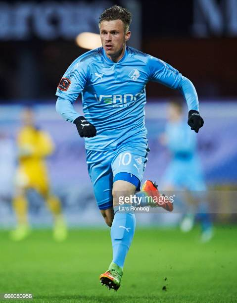 Marvin Pourie of Randers FC in action during the Danish Alka Superliga match between Randers FC and AC Horsens at BioNutria Park on April 7 2017 in...