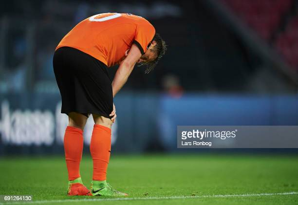 Marvin Pourie of Randers FC looks dejected after the Danish Alka Superliga Europa League Playoff match between FC Midtjylland and Randers FC at MCH...