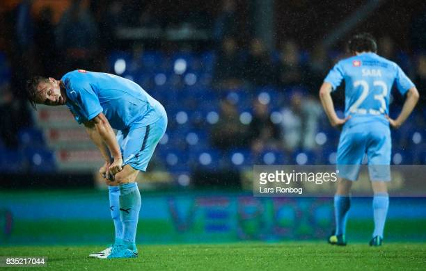 Marvin Pourie of Randers FC looks dejected after the Danish Alka Superliga match between Randers FC and Silkeborg IF at BioNutria Park on August 18...