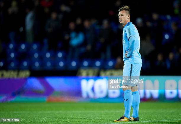 Marvin Pourie of Randers FC looks dejected after the Danish Alka Superliga match between Randers FC and Lyngby BK at BioNutria Park on September 15...