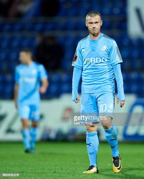 Marvin Pourie of Randers FC looks dejected during the Danish Alka Superliga match between Randers FC and AaB Aalborg at BioNutria Park on October 23...