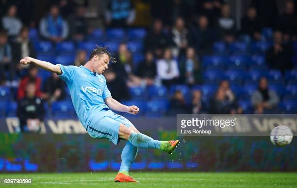 Marvin Pourie of Randers FC scores the 10 goal during the Danish Alka Superliga match between Randers FC and OB Odense at BioNutria Park on May 29...