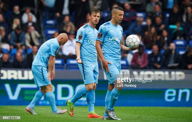 Marvin Pourie of Randers FC shows frustration against Nikola Djurdjic of Randers FC during the Danish Alka Superliga match between Randers FC and OB...