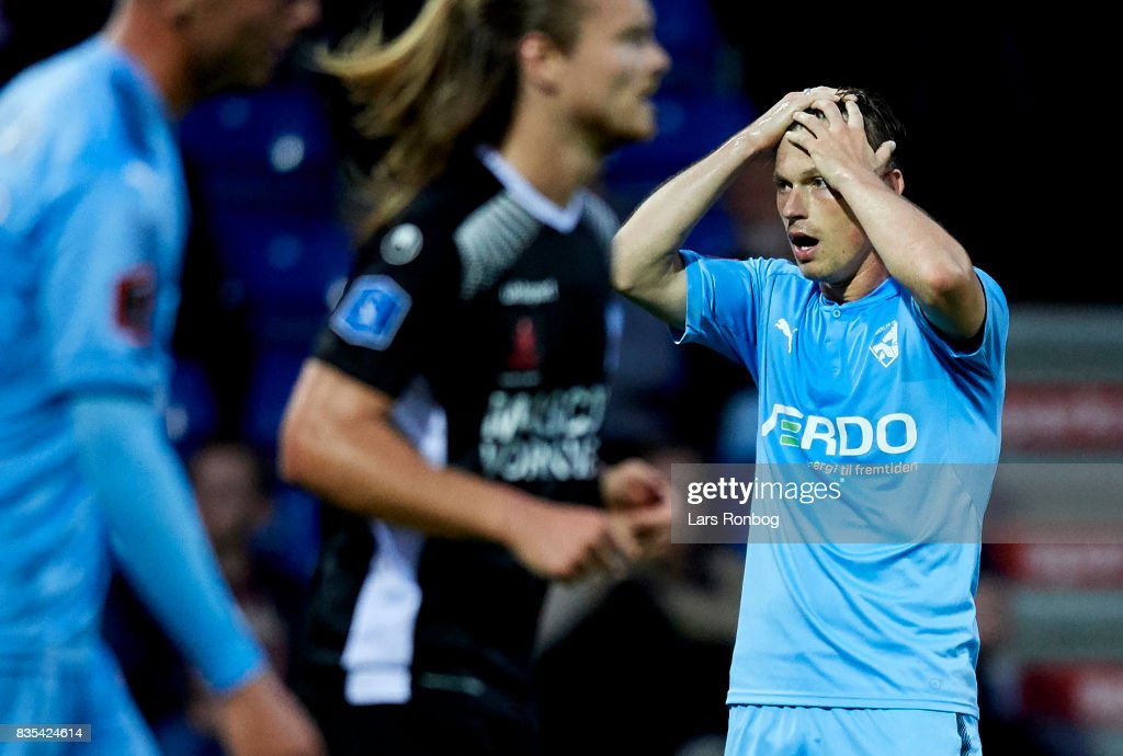 Marvin Pourie of Randers FC shows frustration during the Danish Alka Superliga match between Randers FC and Silkeborg IF at BioNutria Park on August 18, 2017 in Randers, Denmark.