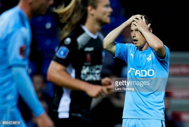 Marvin Pourie of Randers FC shows frustration during the Danish Alka Superliga match between Randers FC and Silkeborg IF at BioNutria Park on August...