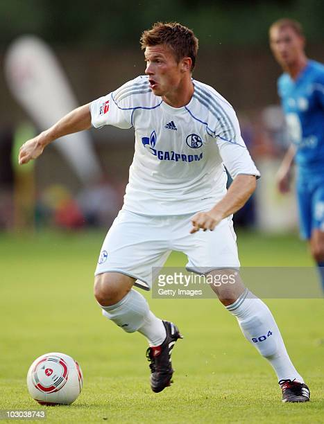 Marvin Pourie of Schalke runs with the ball during the friendly match between FC Schalke 04 and PSFC Chernomorets Burgas on July 22 2010 in...