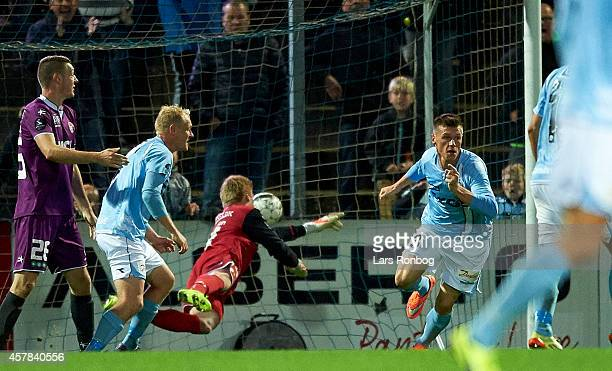 Marvin Pourie of Sonderjyske celebrates after scoring their first goal during the Danish Superliga match between Sonderjyske and FC Midtjylland at...