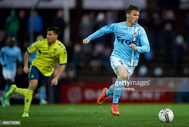 Marvin Pourie of Sonderjyske controls the ball during the Danish DBU Pokalen Cup match between Sonderjyske and Brondby IF at Sydbank Park on March 4...