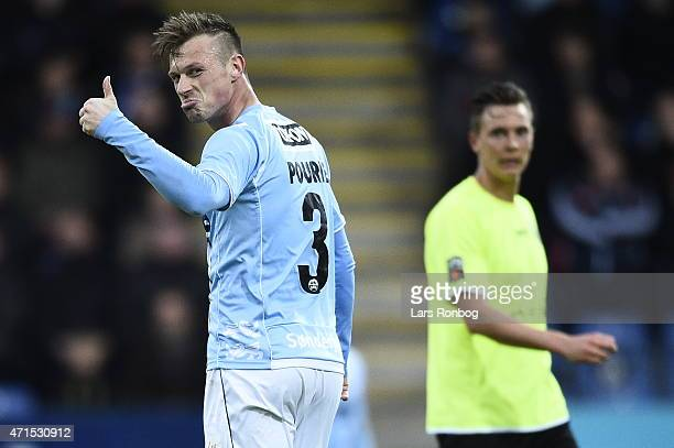 Marvin Pourie of Sonderjyske shows thumbs up in frustration against the linesman during the Danish DBU Pokalen Cup Semifinal match between...