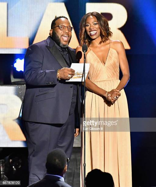 Marvin Sapp and Yvonne Orji present the award for 'State Farm Song of the Year' during the 32nd annual Stellar Gospel Music Awards at the Orleans...