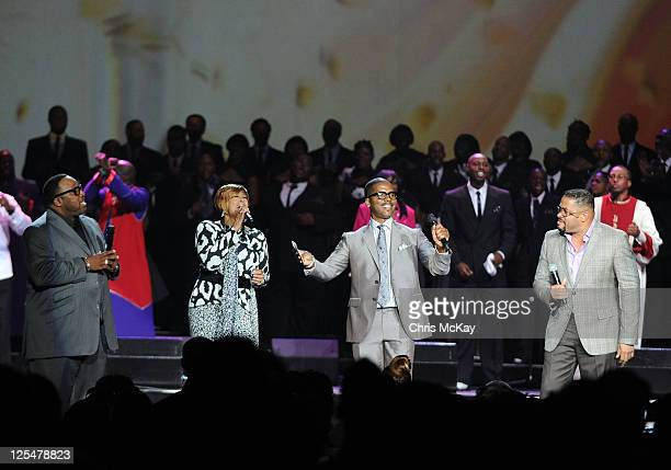 Marvin Sapp Dorinda ClarkCole Donald lawrence and Byron Cage perform during Verizon's How Sweet The Sound 2011 at Philips Arena on September 17 2011...