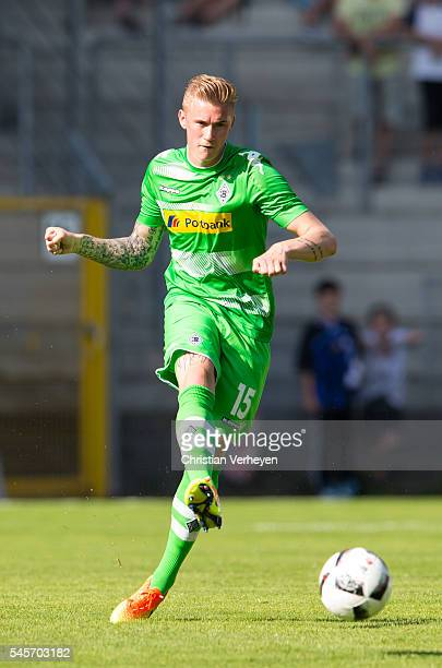 Marvin Schulz of Borussia Moenchengladbach controls the ball during a friendly match between Waldhof Mannheim Borussia at CarlBenzStadion on July 09...
