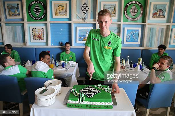 Marvin Schulz of Borussia Moenchengladbach with his Borussia birthday cake at day eight of Borussia Moenchengladbach training camp on January 15 2015...