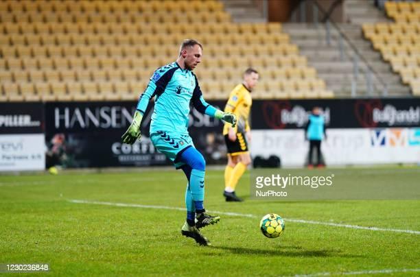 Marvin Schwäbe of Brøndby during the Superliga match between AC Horsens and Brøndby at CASA Arena, Horsens, Denmark on December 20, 2020.