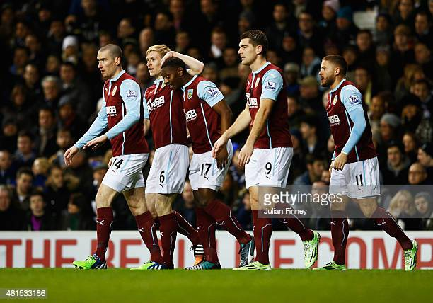 Marvin Sordell of Burnley celebrates with team mates as he scores their first goal during the FA Cup Third Round Replay match between Tottenham...