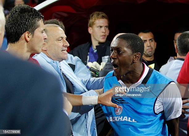 Marvin Sordell of England reacts after the Under 21 European Championship Play Off second leg match between Serbia U21 and England U21 at Stadium...