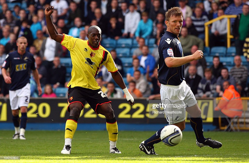Marvin Sordell scores the third goal for Watford during the npower Championship match between Millwall and Watford at The Den on September 18, 2010 in London, England.