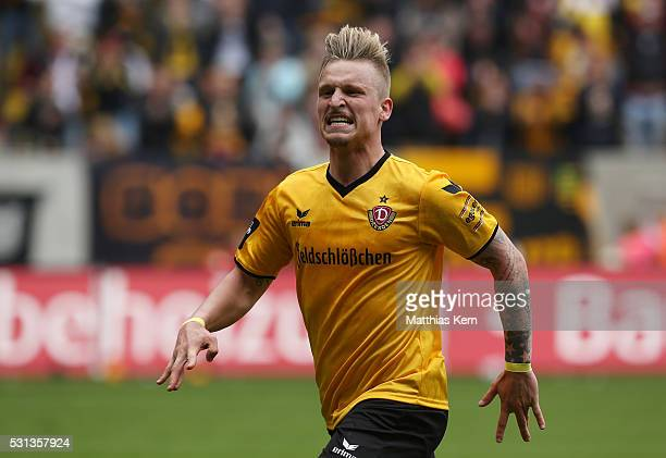 Marvin Stefaniak of Dresden jubilates after scoring the second goal during the third league match between SG Dynamo Dresden and SG Sonnenhof...