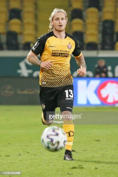 Marvin Stefaniak of SG Dynamo Dresden controls the ball during the 3 Liga match between Dynamo Dresden and FSV Zwickau at RudolfHarbigStadion on...