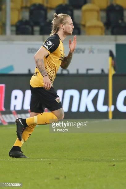 Marvin Stefaniak of SG Dynamo Dresden gestures during the 3 Liga match between Dynamo Dresden and FSV Zwickau at RudolfHarbigStadion on October 20...