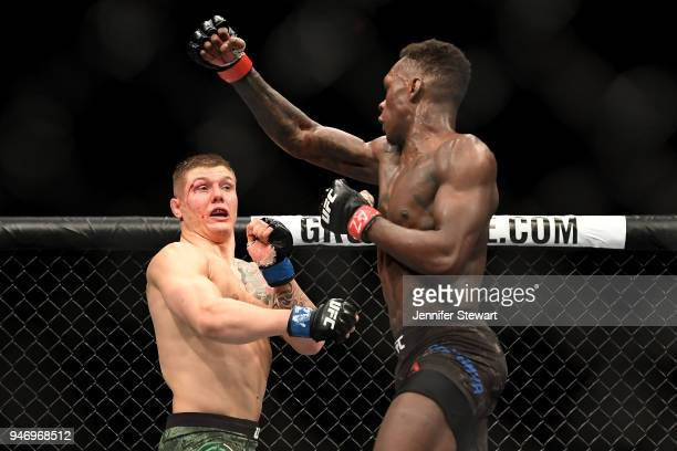 Marvin Vettori of Italy and LIsrael Adesanya of Nigeria in their middleweight fight during the UFC Fight Night at Gila River Arena on April 14 2018...