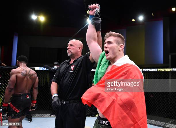Marvin Vettori of Italy celebrates after his submission victory over Karl Roberson in their middleweight fight during the UFC Fight Night event at...