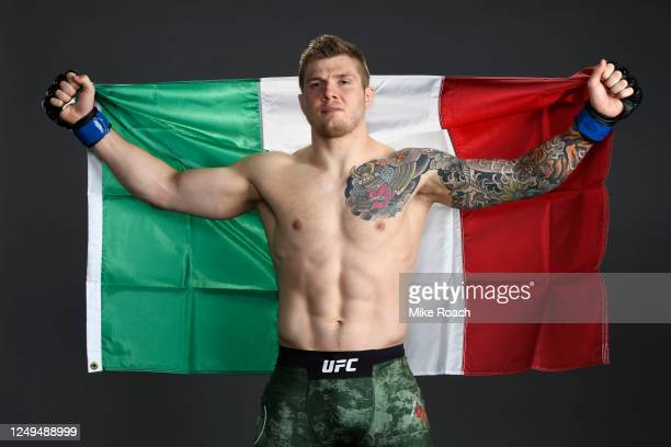 Marvin Vettori of Italy poses for a post fight portrait backstage during the UFC Fight Night event at UFC APEX on June 13 2020 in Las Vegas Nevada
