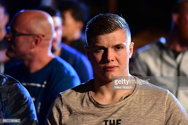 Marvin Vettori of Italy waits backstage during the UFC 202 weighin at the MGM Grand Marquee Ballroom on August 19 2016 in Las Vegas Nevada