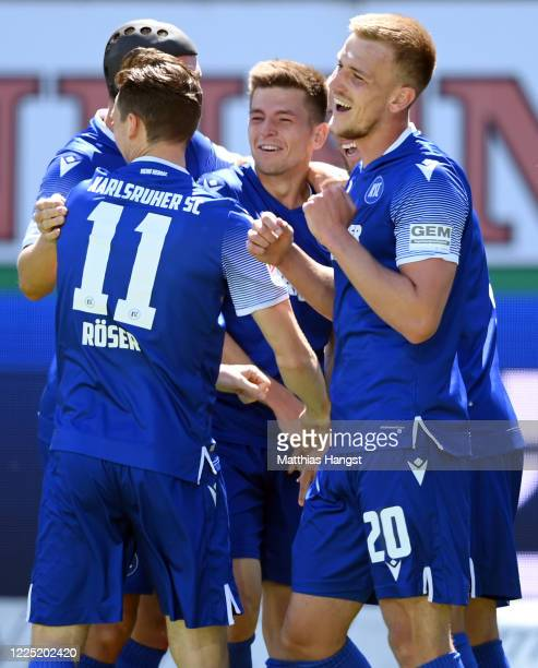 Marvin Wanitzek of Karlsruhe celebrates his team's second goal with team mates during the Second Bundesliga match between Karlsruher SC and SV...