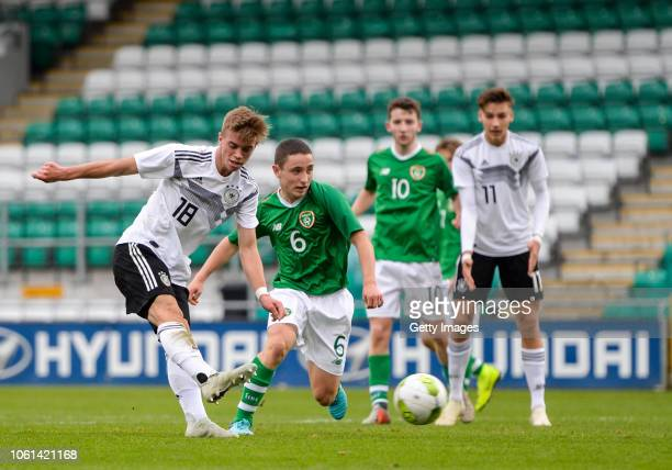 Marvin Weiß of Germany scores his side's second goal during the U17 International Friendly match between Republic of Ireland and Germany at Tallaght...