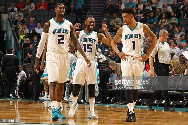 Marvin Williams Kemba Walker and Courtney Lee of the Charlotte Hornets during the game against the New Orleans Pelicans at the Time Warner Cable...