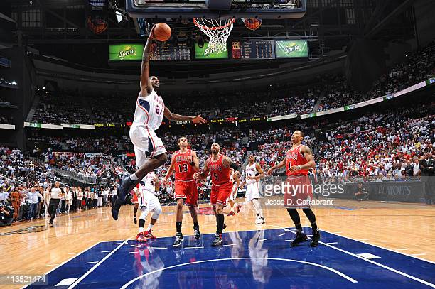 Marvin Williams of the Atlanta Hawks dunks against the Chicago Bulls in Game Three of the Eastern Conference Semifinals in the 2011 NBA Playoffs on...