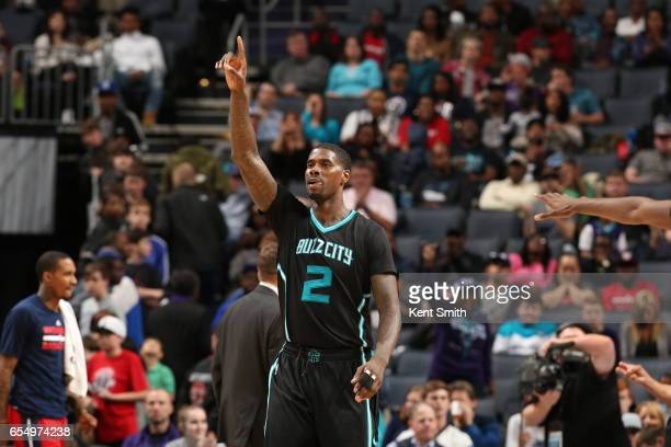 Marvin Williams of the Charlotte Hornets addresses the crowd during the game against the Washington Wizards on March 18 2017 at Spectrum Center in...