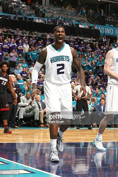Marvin Williams of the Charlotte Hornets celebrates against the Miami Heat during Game Four of the Eastern Conference Quarterfinals during the 2016...
