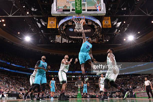 Marvin Williams of the Charlotte Hornets dunks against the Boston Celtics on January 16 2017 at the TD Garden in Boston Massachusetts NOTE TO USER...