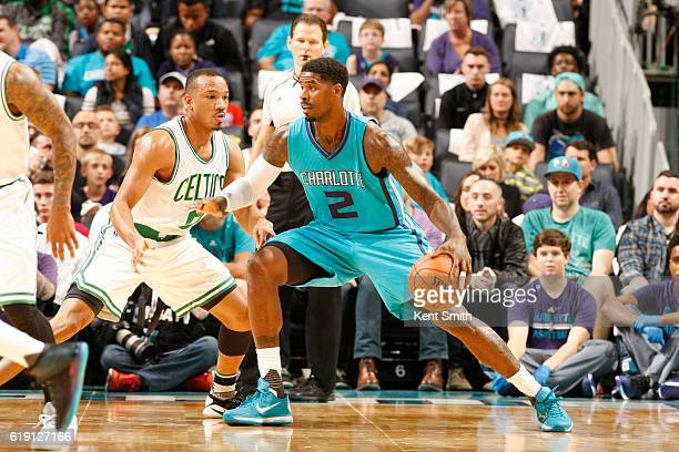 Marvin Williams of the Charlotte Hornets handles the ball against Avery Bradley of the Boston Celtics during a game on October 29 2016 at the...