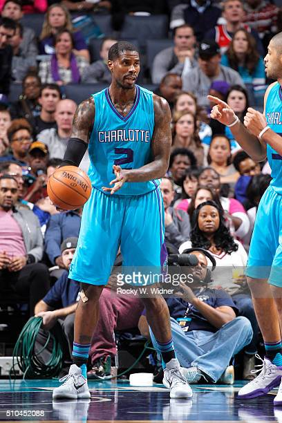 Marvin Williams of the Charlotte Hornets handles the ball against the Washington Wizards on February 6 2016 at Time Warner Cable Arena in Charlotte...