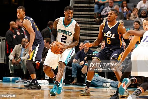 Marvin Williams of the Charlotte Hornets handles the ball against the Utah Jazz on November 9 2016 at Spectrum Center in Charlotte North Carolina...