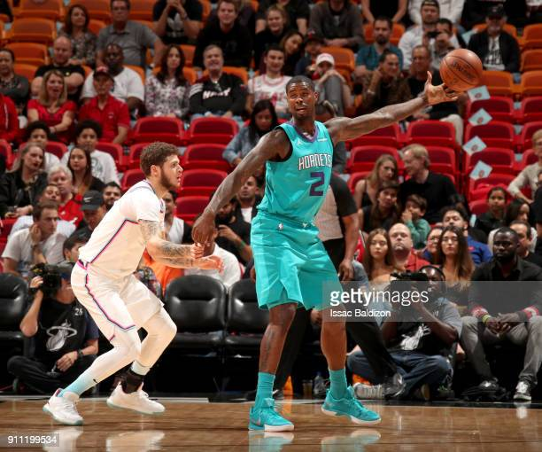 Marvin Williams of the Charlotte Hornets handles the ball against the Miami Heat on January 27 2018 at American Airlines Arena in Miami Florida NOTE...