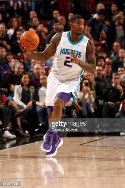 Marvin Williams of the Charlotte Hornets handles the ball against the Portland Trail Blazers on February 8 2018 at the Moda Center in Portland Oregon...