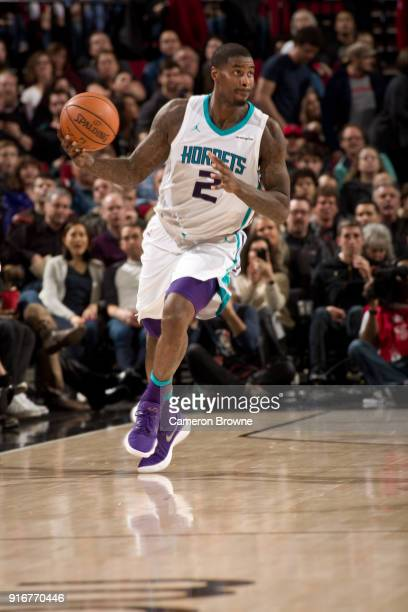 Marvin Williams of the Charlotte Hornets handles the ball against the Portland Trail Blazers on February 8 2018 at the Moda Center Arena in Portland...