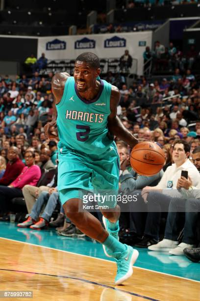 Marvin Williams of the Charlotte Hornets handles the ball during the game against the LA Clippers on November 18 2017 at Spectrum Center in Charlotte...