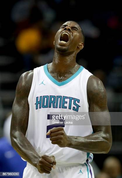 Marvin Williams of the Charlotte Hornets reacts after a play against the Orlando Magic during their game at Spectrum Center on October 29 2017 in...