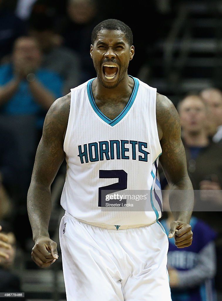 Marvin Williams #2 of the Charlotte Hornets reacts after a play during their game against the Washington Wizards at Time Warner Cable Arena on November 25, 2015 in Charlotte, North Carolina. NBA -