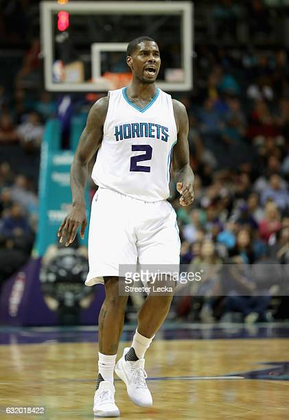 Marvin Williams of the Charlotte Hornets reacts after a shot against the Portland Trail Blazers during their game at Spectrum Center on January 18...
