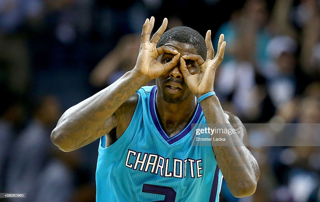 Marvin Williams #2 of the Charlotte Hornets reacts after making a basket against the Milwaukee Bucks during their game at Time Warner Cable Arena on October 29, 2014 in Charlotte, North Carolina.