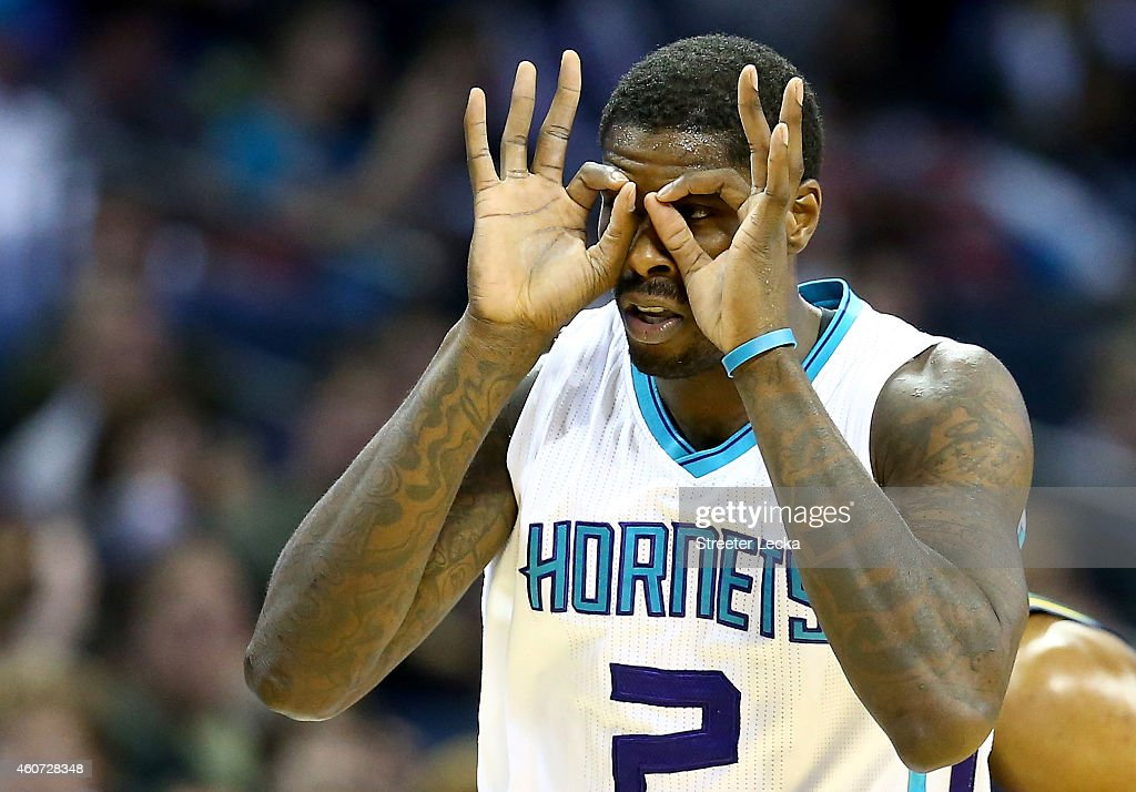 Marvin Williams #2 of the Charlotte Hornets reacts after making a basket against the Utah Jazz during their game at Time Warner Cable Arena on December 20, 2014 in Charlotte, North Carolina.