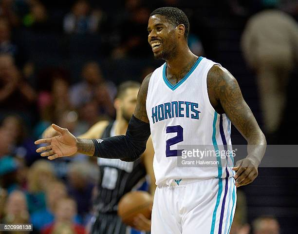 Marvin Williams of the Charlotte Hornets reacts after scoring and drawing a foul against the Orlando Magic during their game at Time Warner Cable...